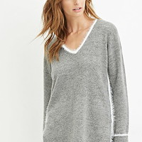Contemporary Fuzzy Knit-Trim Sweater