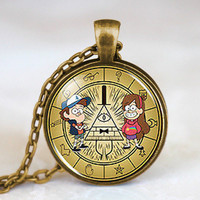 New Steampunk Drama Gravity Falls Mysteries BILL CIPHER WHEEL Party Time Pendant Necklace doctor who 1pcs/lot chain men toy lady