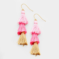 "3"" tri color fabric tassel fringe layered boho earrings"