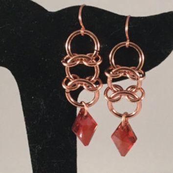 chainmail earrings, copper earrings, Centipede weave, chainmail jewelry, red crystal drop, gift for her, under 20