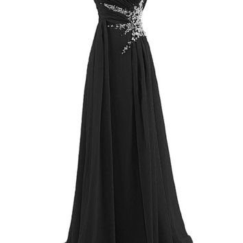 TDHQ US Women's Sweetheart Beading Floor-length Chiffon Prom Dress Evening Gown