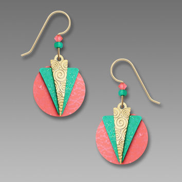 Adajio Earrings - Peach Disc with Turquoise and Gold Plate Triangle Overlays