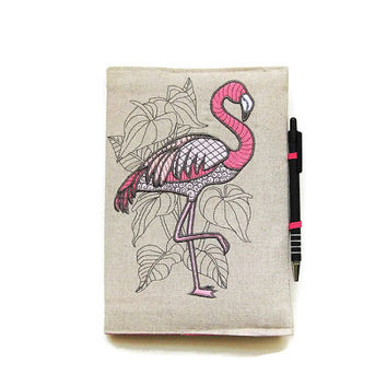 A5 notebook and pen, pink and grey flamingo gift set, journal cover, reusable notebook cover, portfolio sleeve, cover, embroidered linen.