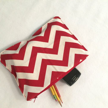 Organizer Travel Case Red and White Pencil Case with Zipper Back to School Ready to Ship School Supplies Medication Storage Meds chevron