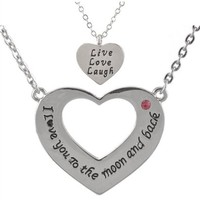 MJartoria I Love You to the Moon and Back Rhinestone Mom and Daughter Heart Family Necklace with Engraving Live Love Laugh