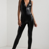 AKIRA V Neck Faux Leather Zip Up Jumpsuit in Black