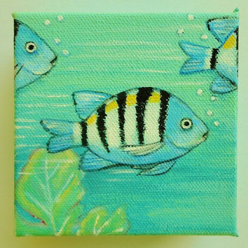 Coastal Painting Original Tropical Fish Mini Canvas