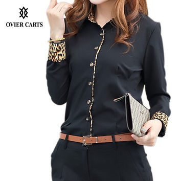 New Women Blouses Turn Down Collar Long Sleeve Shirt Women Leopard OL Lady Work Wear Women Office Shirt S-XXL Blusas Feminina
