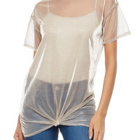 Foil Mesh Knot Front Tunic