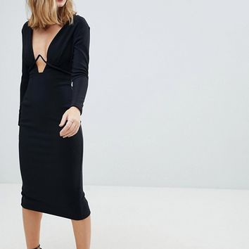 ASOS DESIGN Petite long sleeve exposed underwire bodycon midi dress at asos.com