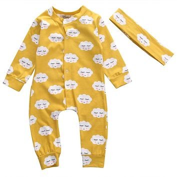 Cute Toddler Newborn Baby Girls Boys Clothes 2PCS Long Sleeve Clouds Print Romper Headband Jumpsuit Outfits Clothing Sets