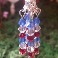 Miniature fairy garden wind chimes. 4th of July. Red, White and blue.
