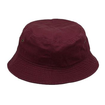 Men Women 100% Cotton Fishing BUCKET HAT CAP Boonie Brim visor Sun Safari PLUM