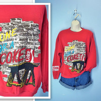 Vintage Coke Sweatshirt / 1980s Red Blouse by SnapVintage on Etsy