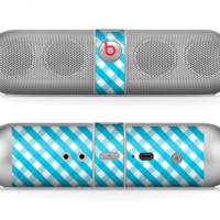 The Subtle Blue & White Plaid Skin for the Beats by Dre Pill Bluetooth Speaker