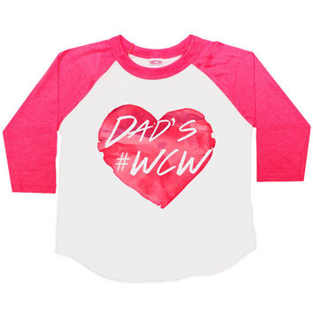 Dad's #WCW Three Quarter Sleeve American Apparel Raglan Kids T Shirt Boys or Girls Funny Shirt Baby Toddler Baseball Tee Woman Crush WCW 137