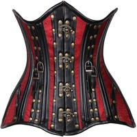 Daisy Corsets Top Drawer CURVY Faux Leather & Brocade Steel Boned Under Bust Corset w/Rivets