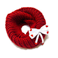 cowl Scarf // Red infinity scarf, Valentine's day ,decorated with red bow hearted cowl scarf, heart, Women Accessories , fast shipping