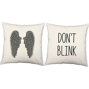 Dont Blink Angel Wings Throw Pillows