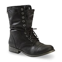Bongo Women's Estie Mid-Calf Black Fold Over Combat Boot