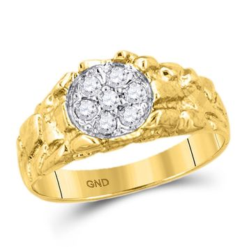 3abf0c81787 10kt Yellow Gold Mens Round Diamond Cluster Nugget Band Ring 1 4