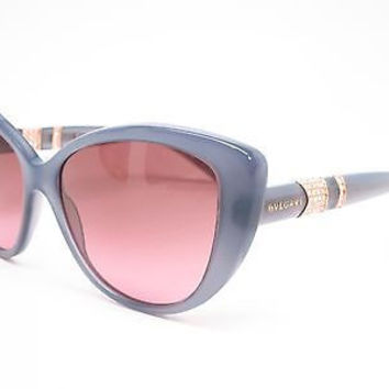 BVLGARI BV 8151-B 5321/14 GREY CAT EYE SUNGLASSES ITALY 57-15-140 W/SWAROVSKI