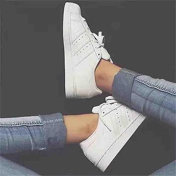 Adidas stan smith trendy men and women fashion sports shoes F Pure white