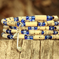 Music Bracelet  - Beads Upcycled from Vintage Hymnal - Memory Wire -  Stacking Wrap Bracelet