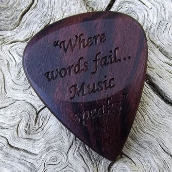 Handmade Premium Laser Engraved Wood Guitar Pick - Brazilian Kingwood - Actual Pick Shown - Engraved Both Sides