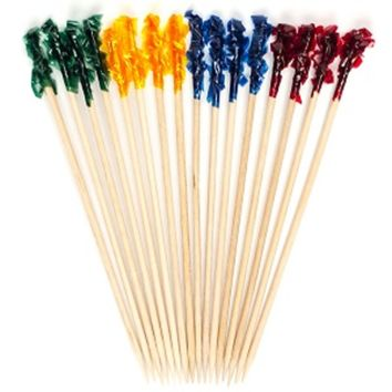 100 Rainbow multi color frill wooden picks tooth picks appetizer picks