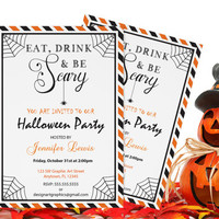 Eat Drink & Be Scary Stripes Halloween Party Invitation Template - Printable Editable PDF Template - Instant Download DIY You Print