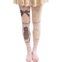 Lolita Double Cats Bow Tights