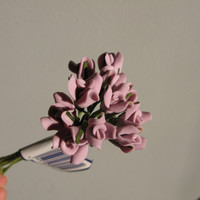 Miniature Flowers Polymer Clay Flower Small Purple Lily Lavender Floral Picks