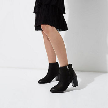Black leather zip up block heel ankle boots - Boots - Shoes & Boots - women