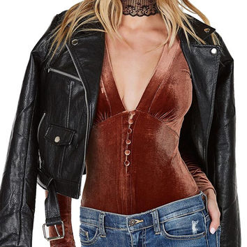 Victorian Velvet Cut Out Bodysuit Copper