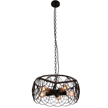 Vintage Barn Black Metal Drum Shape Round Pendant Light with 5 E26 Bulb Sockets 200W Painted Finish