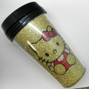 Gold Hello Kitty Inspired Travel Mug