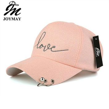LMFG8W JOYMAY 2017 New arrival high quality snapback cap iron hoop bead on visor love embroidery hat for women baseball cap  B421