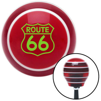 Green Route 66 Sign Red Stripe Shift Knob with M16 x 15 Insert