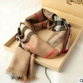 Burberry Great Autumn and Winter Cashmere Plaid Scarf Silk Scarves