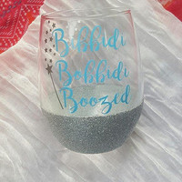 Disney Wine Glass, Bibbidi Bobbidi Boozed Cinderella Wine Glass, Glitter Wine Glass