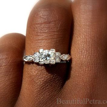 ART DECO - PLATINUM Diamond Engagement Ring - Antique  style .85 carats - Custom made - weddings - brides - luxury -  BpD02