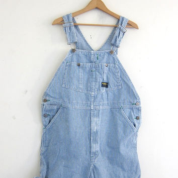 Vintage OSH KOSH pin stripes blue Jean Bib Overalls Shorts // Carpenter Pants // size 38