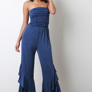 Strapless Ruched Tiered Ruffle Jumpsuit