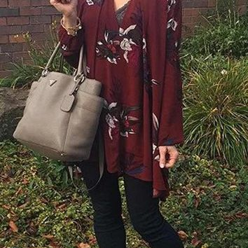 Streetstyle  Casual Red Floral Print Irregular Draped Lantern Sleeve Vintage High-low Mini Dress