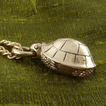 "Turtle Necklace Bronze Turtle Pendant on 24"" Gold Plated Chain"