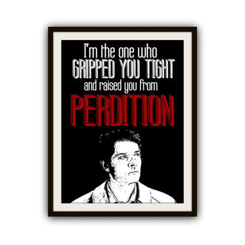 Supernatural Castiel Quote Typography Print Poster