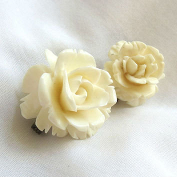 Vintage Two 2 Hand Carved Ivory Tone Flower Pins or Brooches