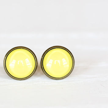 Sunny Yellow Framed Earrings- Antique Bronze Stud Earrings
