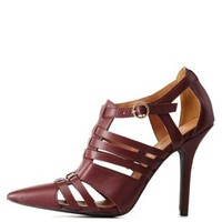 Burgundy Qupid Pointed Toe Huarache Pumps by Qupid at Charlotte Russe